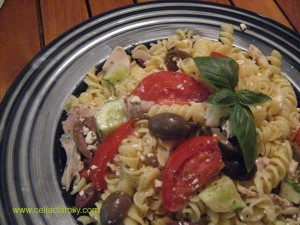 Greek Pasta Salad with fresh tomato wedges